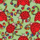 Modelo inconsútil del amor colorido de la mariquita ilustración del vector