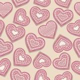 Modelo inconsútil del amor con las galletas rosadas del corazón libre illustration