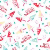 Modelo inconsútil del amor de la sandía fresca del helado libre illustration