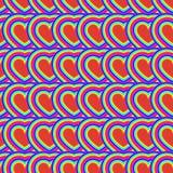 Modelo inconsútil del arco iris de los corazones psychedelic Ilusión óptica Imagen de archivo