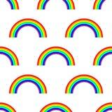 Modelo inconsútil del arco iris del vector en el fondo blanco stock de ilustración
