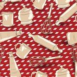 Modelo inconsútil del artículos de cocina fotografía de archivo libre de regalías