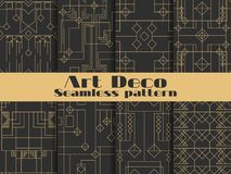 Modelo inconsútil del art déco Fondos retros determinados, oro y color negro Diseñe el ` 1920 s, ` 1930 s Líneas y formas geométr stock de ilustración
