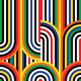 Modelo inconsútil del arte de Op. Sys. del vector abstracto Ornamento colorido del disco ilustración del vector