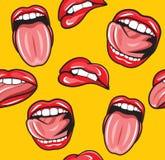 Modelo inconsútil del arte pop de la boca Fotografía de archivo