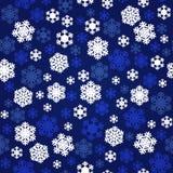 Modelo inconsútil del azul marino y blancos de los copos de nieve foto de archivo libre de regalías