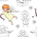 Modelo inconsútil del bebé lindo con los cupidos preciosos del garabato aislados en el fondo blanco ilustración del vector