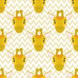 Modelo inconsútil del bebé del vector con la cara de la jirafa de los animales stock de ilustración