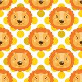 Modelo inconsútil del bebé del vector con la cara del león de los animales ilustración del vector