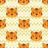 Modelo inconsútil del bebé del vector con la cara del tigre de los animales stock de ilustración