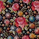 Modelo inconsútil del bordado con las flores coloridas hermosas Fondo floral en estilo del vintage ilustración del vector