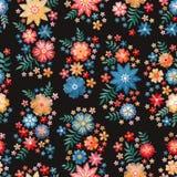 Modelo inconsútil del bordado con los grupos de flores hermosas Fondo floral en estilo del vintage fancywork Diseño de la moda ilustración del vector