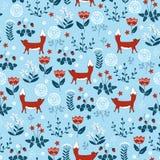 Modelo inconsútil del bosque con los pequeños zorros y flovers lindos stock de ilustración