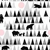 Modelo inconsútil del bosque Modelo de la fauna Oso de Grizzley que forrajea para la comida Modelo abstracto del bosque ilustración del vector