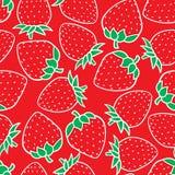 Modelo inconsútil del bosquejo de la moda de la fresa del dibujo de la mano aislado en fondo rojo Día de fiesta del ejemplo del v libre illustration