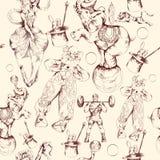 Modelo inconsútil del bosquejo del garabato del circo Fotografía de archivo libre de regalías