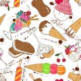Modelo inconsútil del bosquejo del helado colorido Fotografía de archivo
