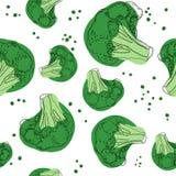 Modelo inconsútil del bróculi en el fondo blanco Ilustración del vector imagenes de archivo