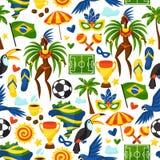 Modelo inconsútil del Brasil con los objetos estilizados y Imagen de archivo