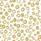 Modelo inconsútil del círculo del oro del vector Diseño a mano para las invitaciones, papel de embalaje, materia textil foto de archivo