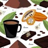 Modelo inconsútil del cacao lindo y elegante Granos y hojas de cacao, chocolate, bebida del cacao y polvo Ilustración del vector Imagenes de archivo