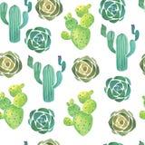 Modelo inconsútil del cactus de la acuarela Fotos de archivo