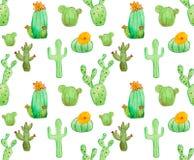 Modelo inconsútil del cactus de la acuarela Fotografía de archivo
