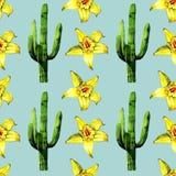 Modelo inconsútil del cactus de la acuarela en la textura de papel ilustración del vector