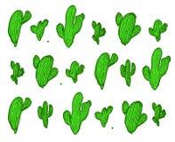 Modelo inconsútil del cactus en blanco Fondo botánico de los cactus Imagen de archivo