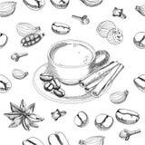 Modelo inconsútil del café del vector Foto de archivo libre de regalías
