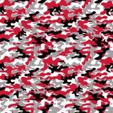 Modelo inconsútil del camo militar Camuflaje en el rojo, blanco y negro stock de ilustración
