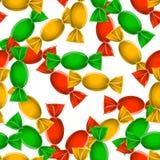 Modelo inconsútil del caramelo sobre blanco Foto de archivo libre de regalías