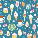 Modelo inconsútil del caramelo y del helado coloridos Imagen de archivo libre de regalías