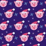Modelo inconsútil del cerdo lindo Símbolo del año en el calendario chino ilustración del vector