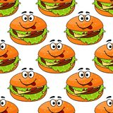 Modelo inconsútil del cheeseburger de la historieta Foto de archivo