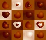 Modelo inconsútil del chocolate de los corazones negros, marrones y blancos de la tarjeta del día de San Valentín Foto de archivo