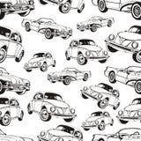 Modelo inconsútil del coche del vintage, fondo retro blanco y negro de la historieta, libro de colorear, dibujo monocromático coc Imagen de archivo libre de regalías