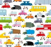 Modelo inconsútil del coche Fondo del transporte en estilo de la historieta Imágenes de archivo libres de regalías