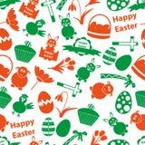 Modelo inconsútil del color de los diversos iconos de Pascua Foto de archivo libre de regalías