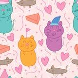 Modelo inconsútil del color en colores pastel del partido del ratón del gato libre illustration