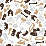Modelo inconsútil del color marrón de los iconos del perro Imagen de archivo libre de regalías