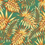 Modelo inconsútil del color retro de las hojas de palma ilustración del vector