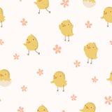 Modelo inconsútil del concepto de Pascua. Pequeños pollos lindos en puntos. ilustración del vector