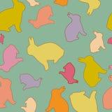 Modelo inconsútil del conejito de pascua Bunny Silhouettes multicolor Para el diseño, la impresión, el fondo y la materia textil libre illustration