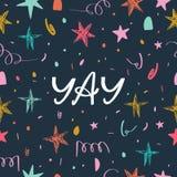Modelo inconsútil del confeti del día de fiesta Mano dibujada poniendo letras al texto Elementos para los medios sociales, cartel ilustración del vector