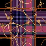 Modelo inconsútil del control barroco con las correas del anuncio de las cadenas Remiendo del vector para la tela, bufanda fotos de archivo libres de regalías