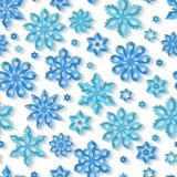 Modelo inconsútil del copo de nieve del invierno Foto de archivo libre de regalías