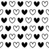 Modelo inconsútil del corazón blanco negro libre illustration