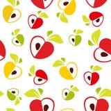 Modelo inconsútil del corazón rojo, amarillo y verde de las manzanas en el fondo blanco - vector el ejemplo Fotos de archivo libres de regalías