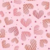 Modelo inconsútil del corazón rosado Concepto del día de tarjetas del día de San Valentín Fondo del amor Imagenes de archivo
